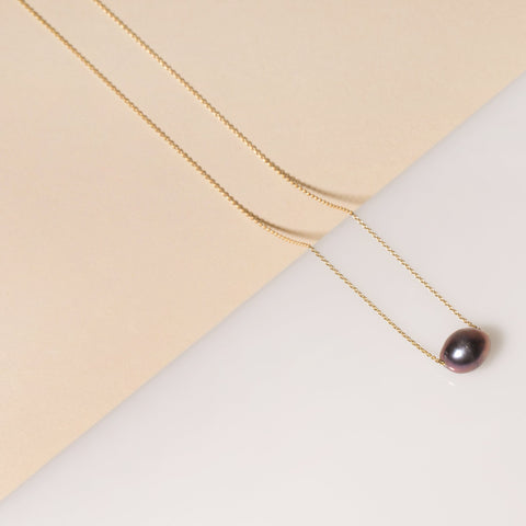 Black Baroque Pearl Solitaire Necklace