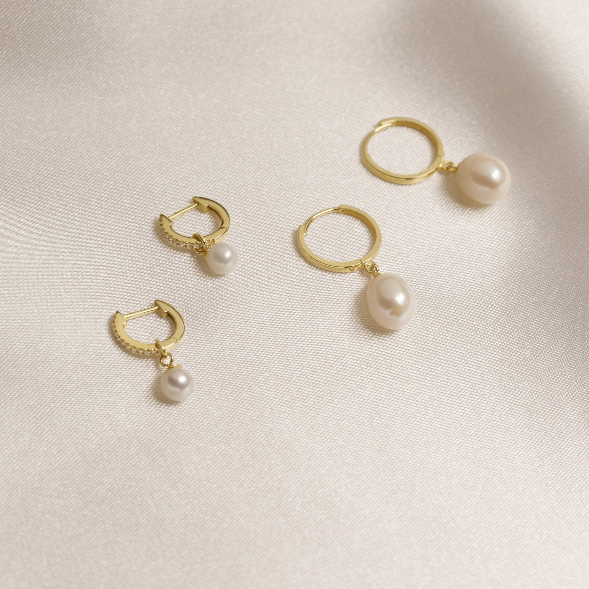 Freshwater Droplet Pearl Pave Huggies- Left