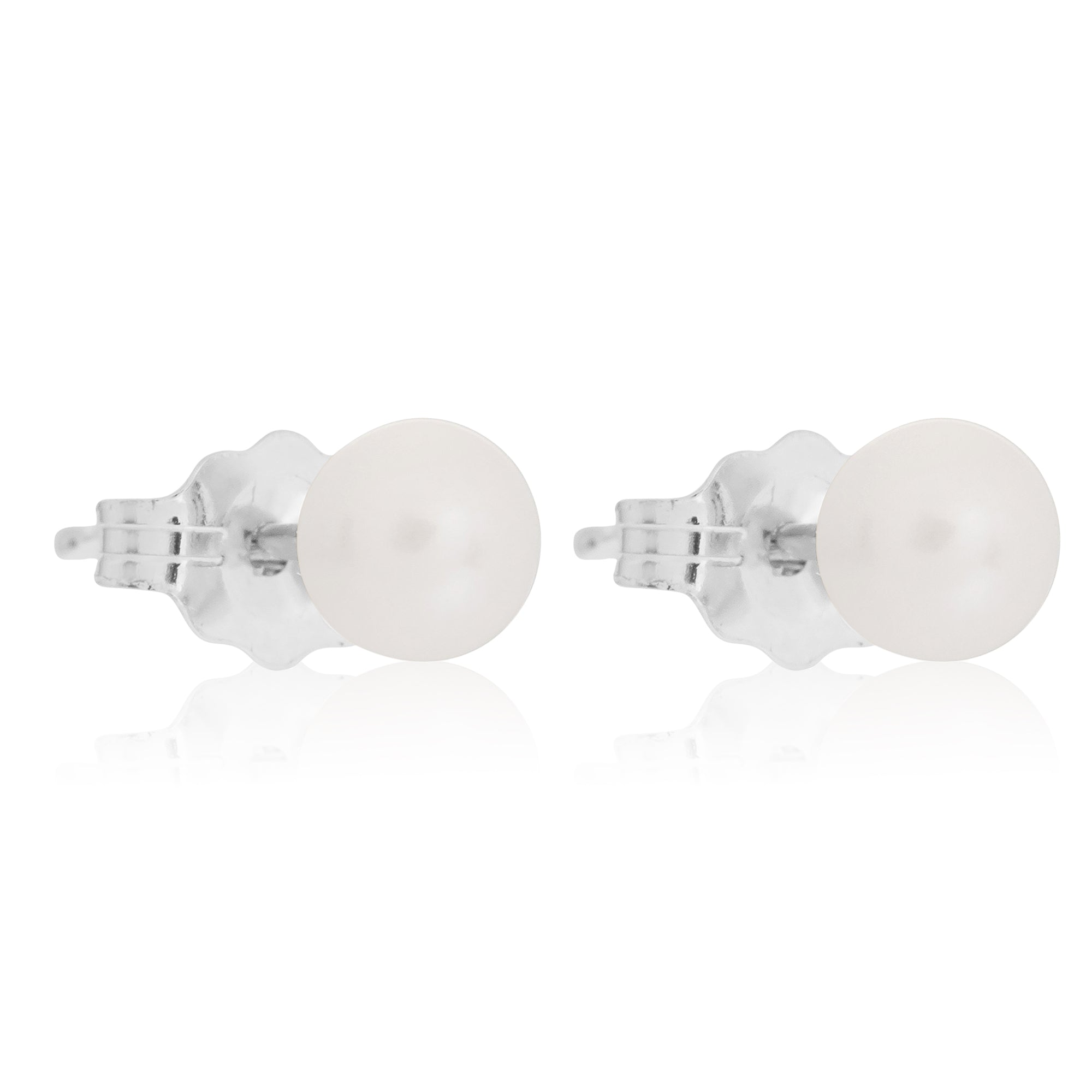 Medium Silver Pearl Earrings