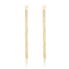 Pearl Gold Fringe Earrings