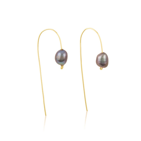 Freshwater Black Pearl Wire Hook Earrings