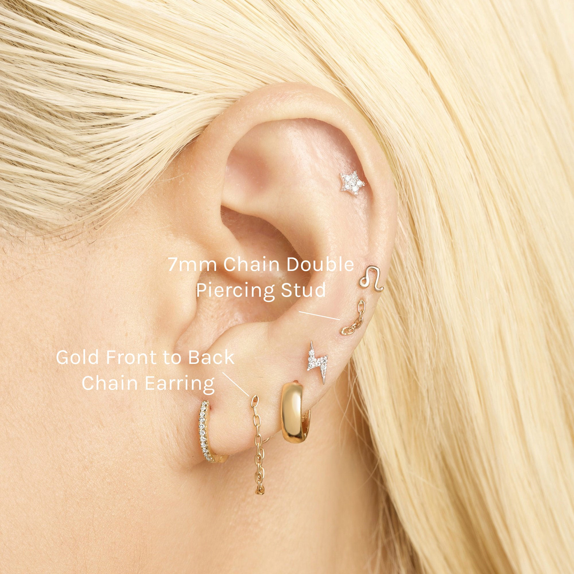 Gold Front To Back Chain Earring