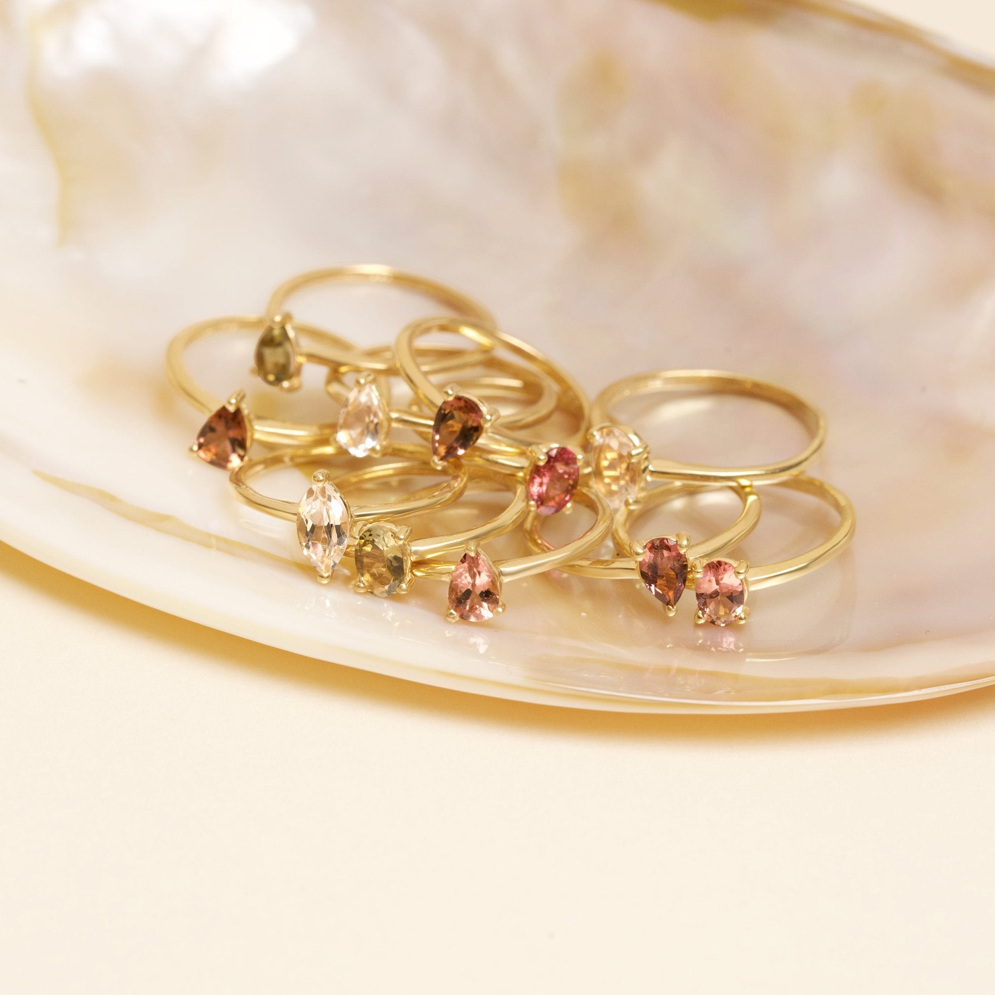 Gold Plated Oval and Pear Tourmaline Twin Set