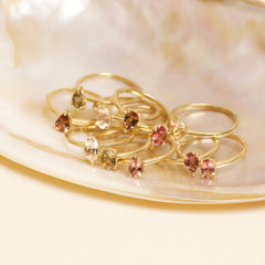 Gold Plated Topaz and Dark Pink Tourmaline Twin Set