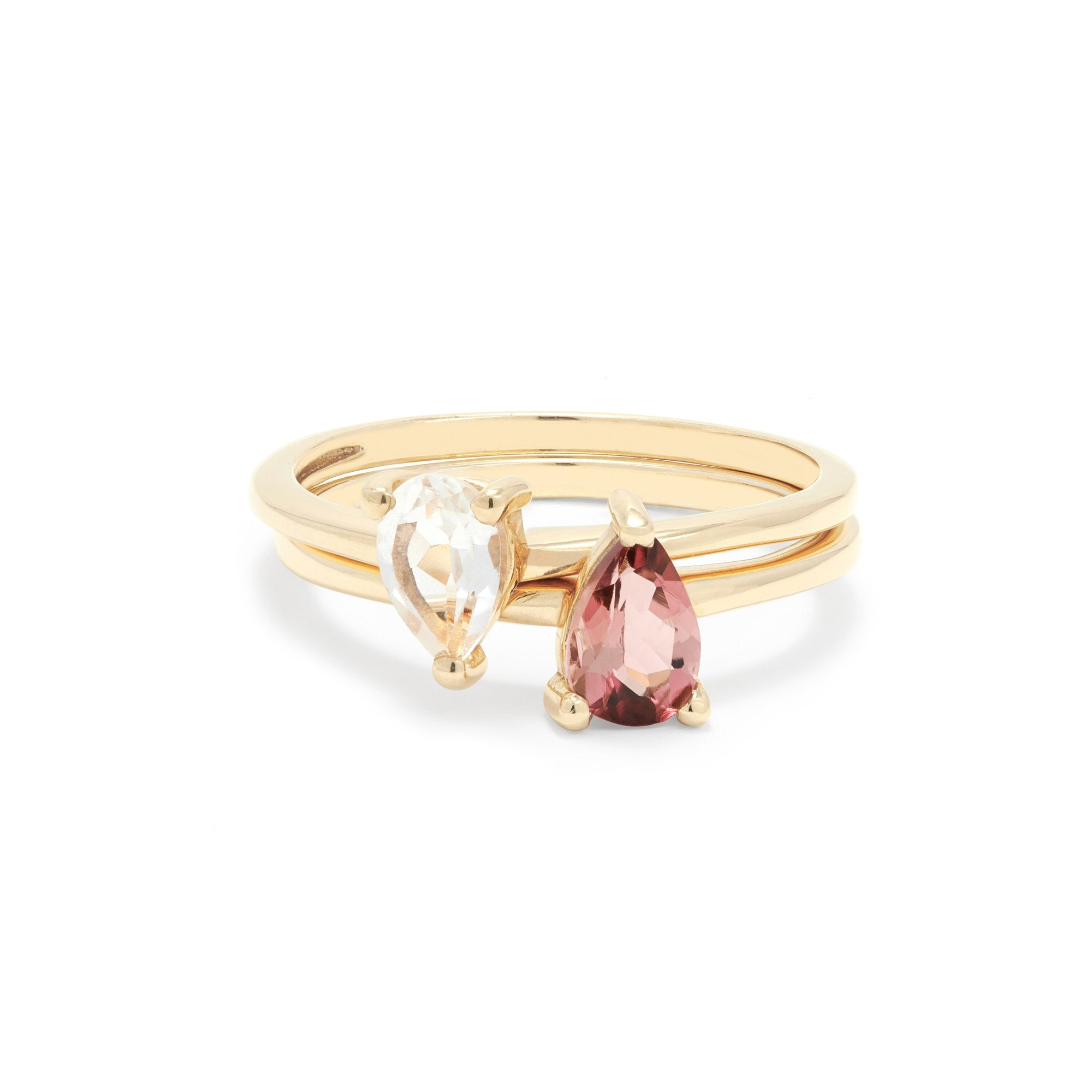Gold Plated Topaz and Pink Tourmaline Twin Set