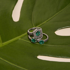 Hexagon Frame Emerald Ring