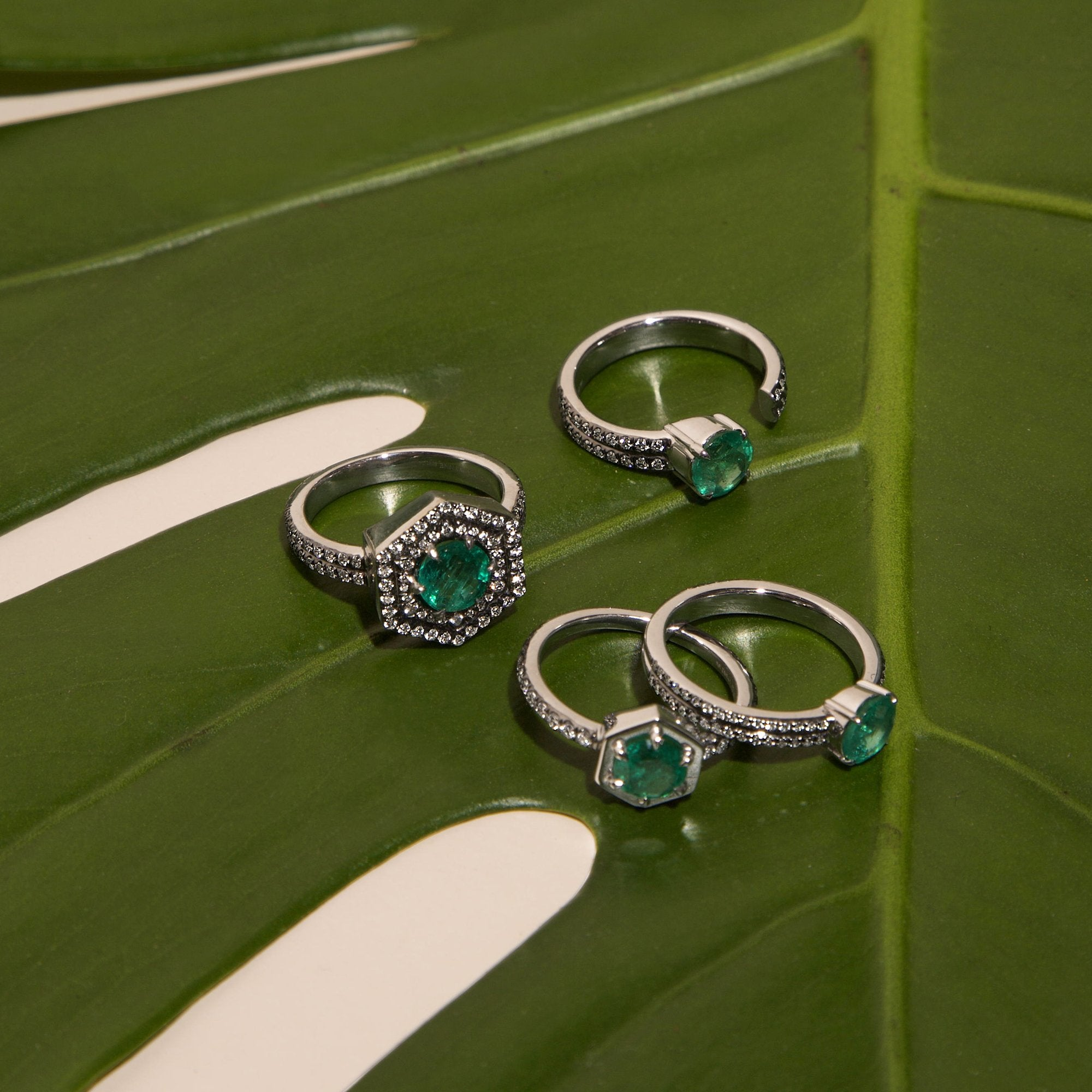 Double Diamond Pave Open Round Emerald Ring