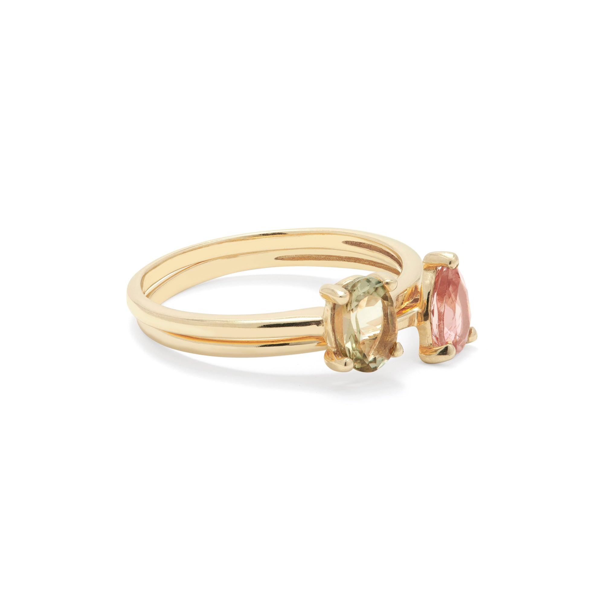 Gold Plated Pink and Green Tourmaline Twin Set