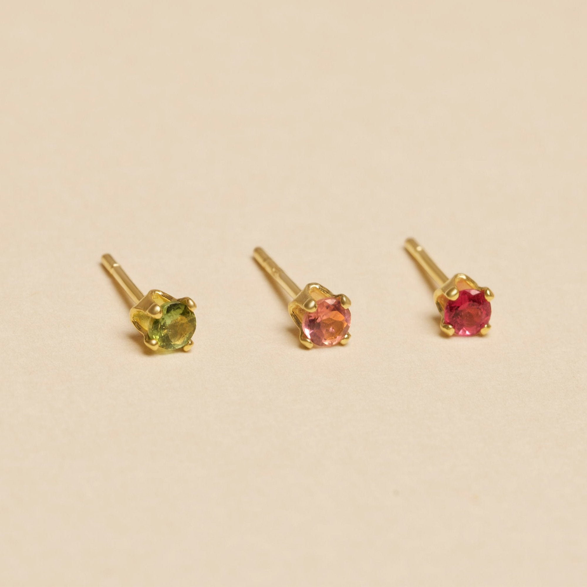 Gold Plated Tourmaline 3-Stud Party Set