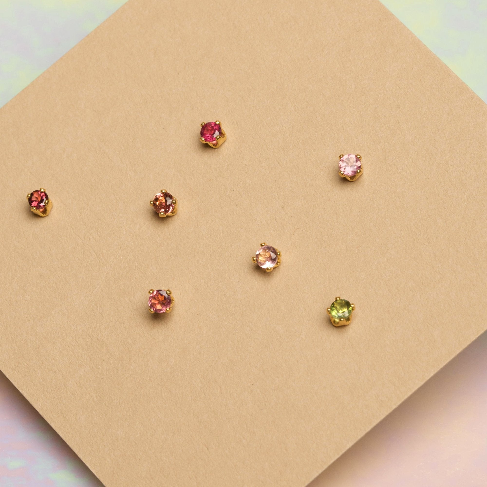 Gold Plated Tourmaline 4-Stud Party Set