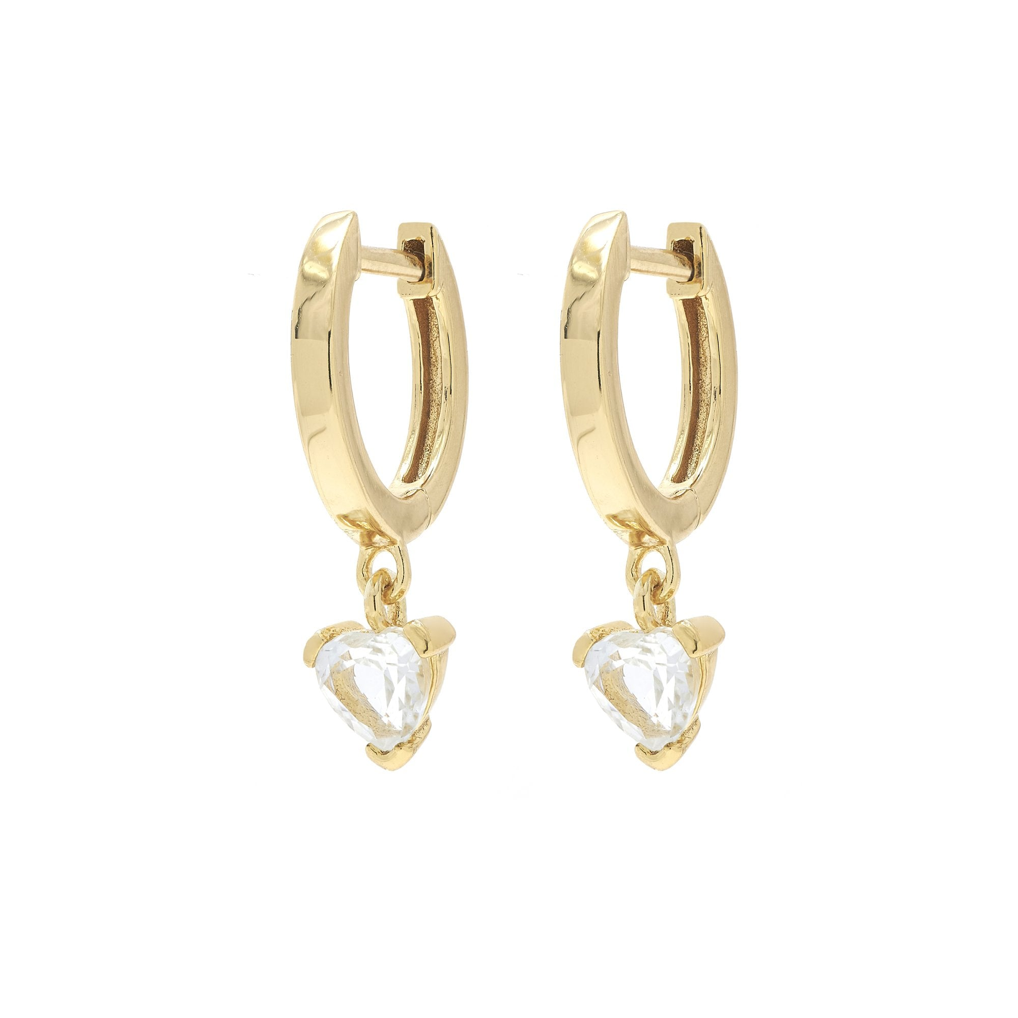 Gold Plated White Topaz Heart Huggies