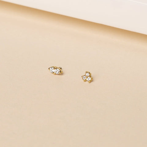 gold and diamond ear piercing jewelry