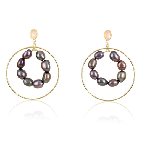 Moonstone Double Circle Hoop Earrings with Black Pearls
