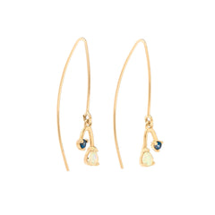 Pear Opal and Blue Sapphire Mobile Earrings