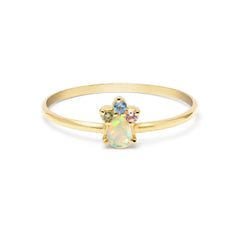 Pear Opal Unicorn Crown Ring