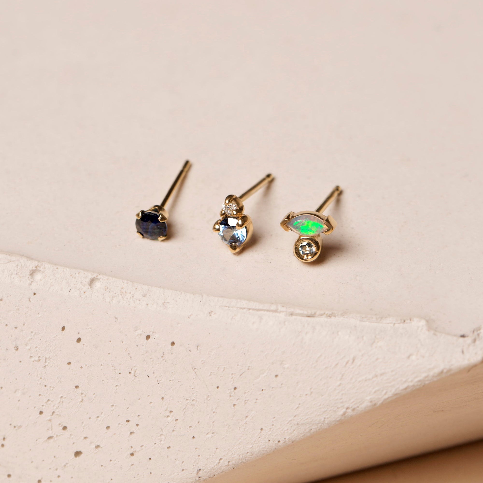 Marquise Opal and Blue Sapphire Stud