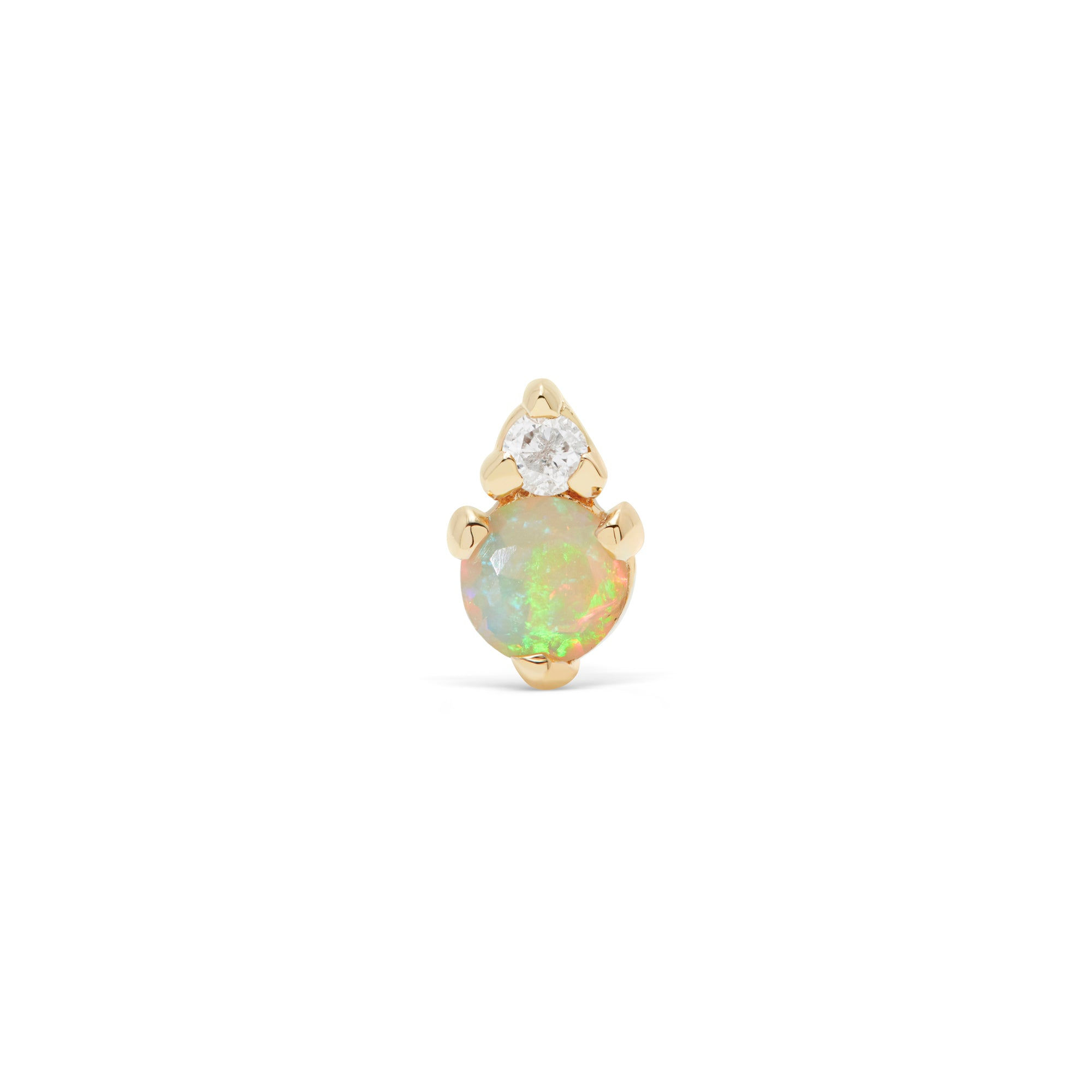 Opal and Diamond Prong Stud Earring