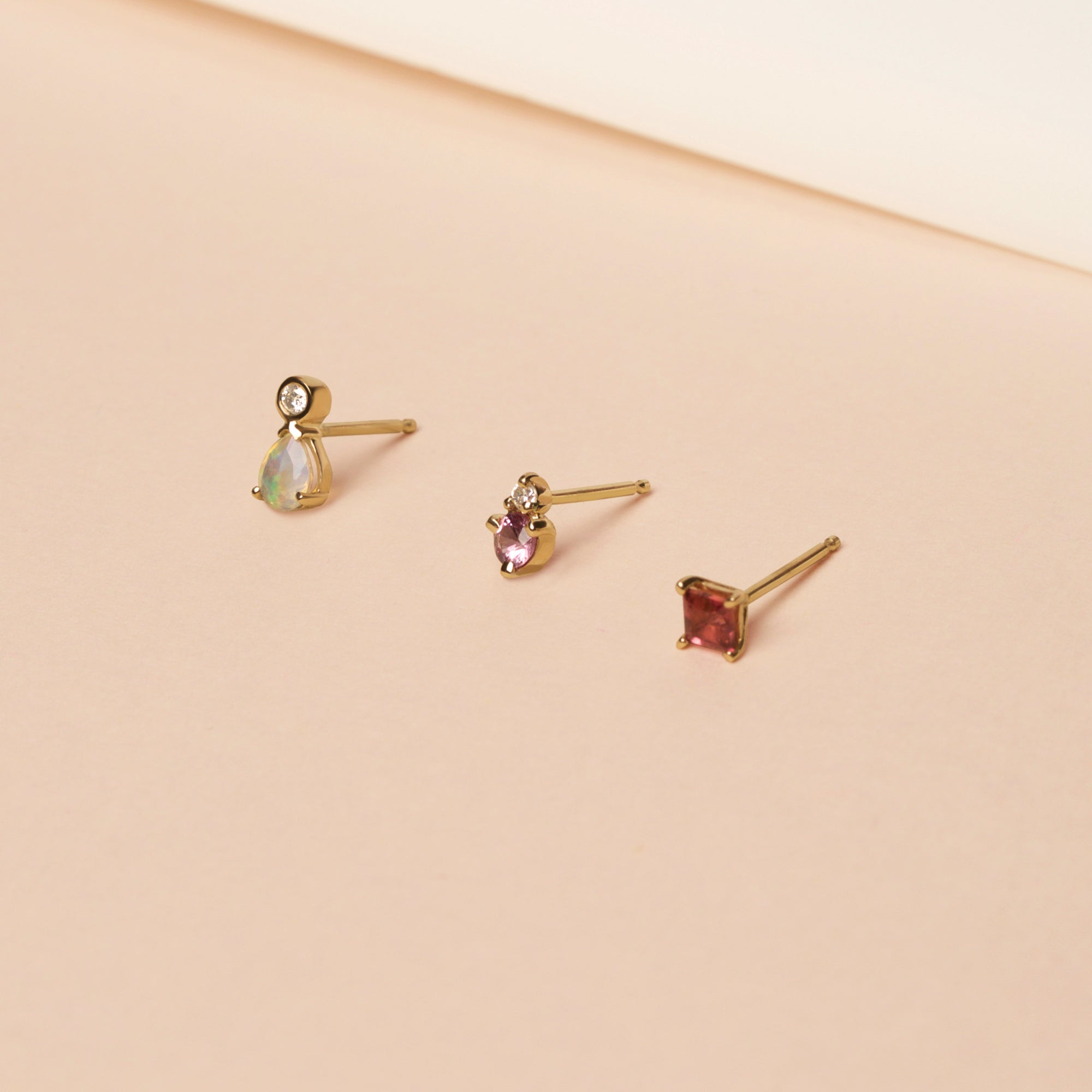stone and strand gemstone stud earrings