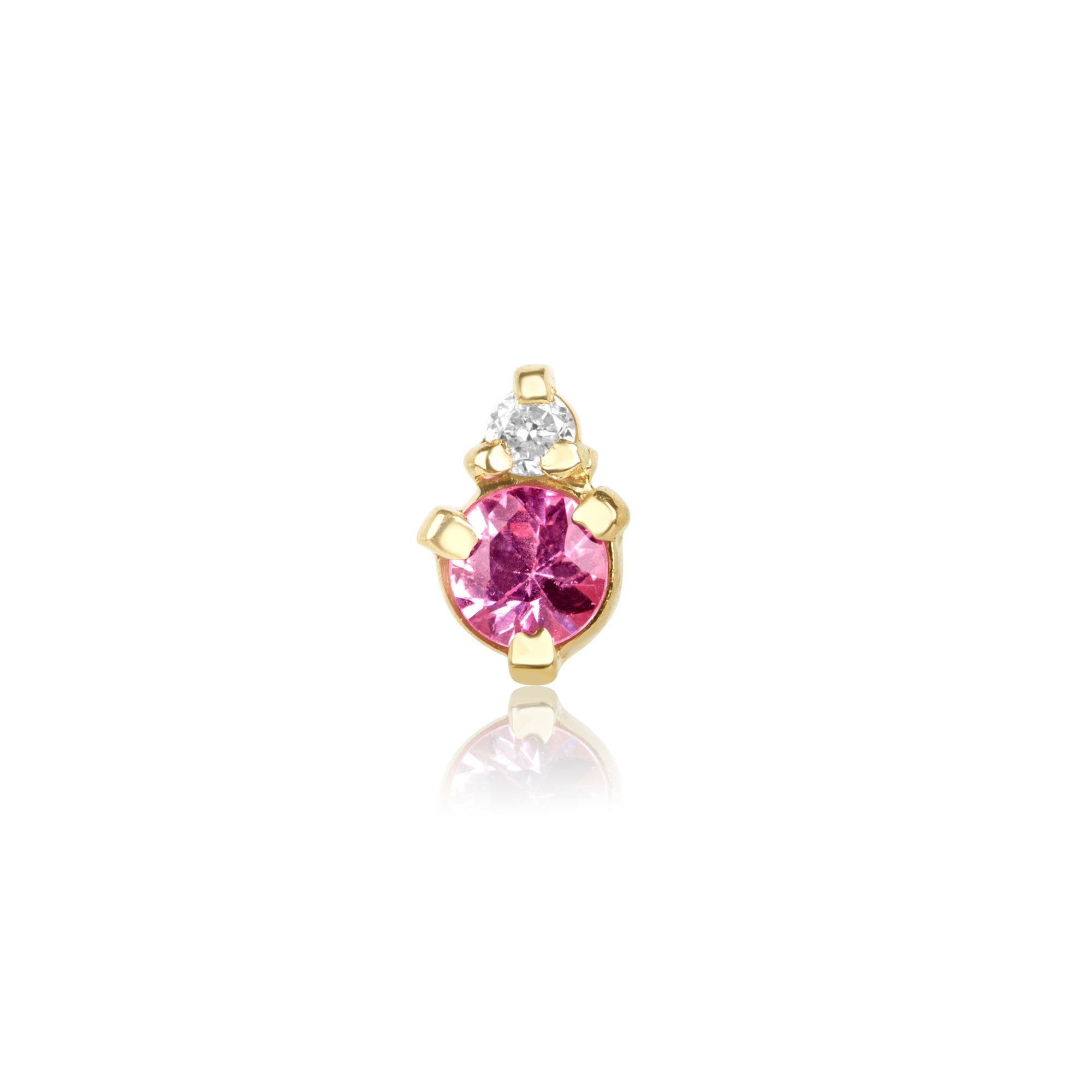 Pink Sapphire and Teeny Diamond Prong Stud