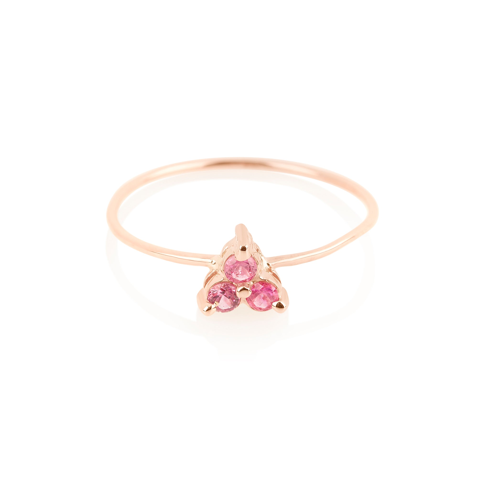 Pink Sapphire Triad Ring