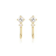 White Topaz and Diamond Mini Hook Earrings