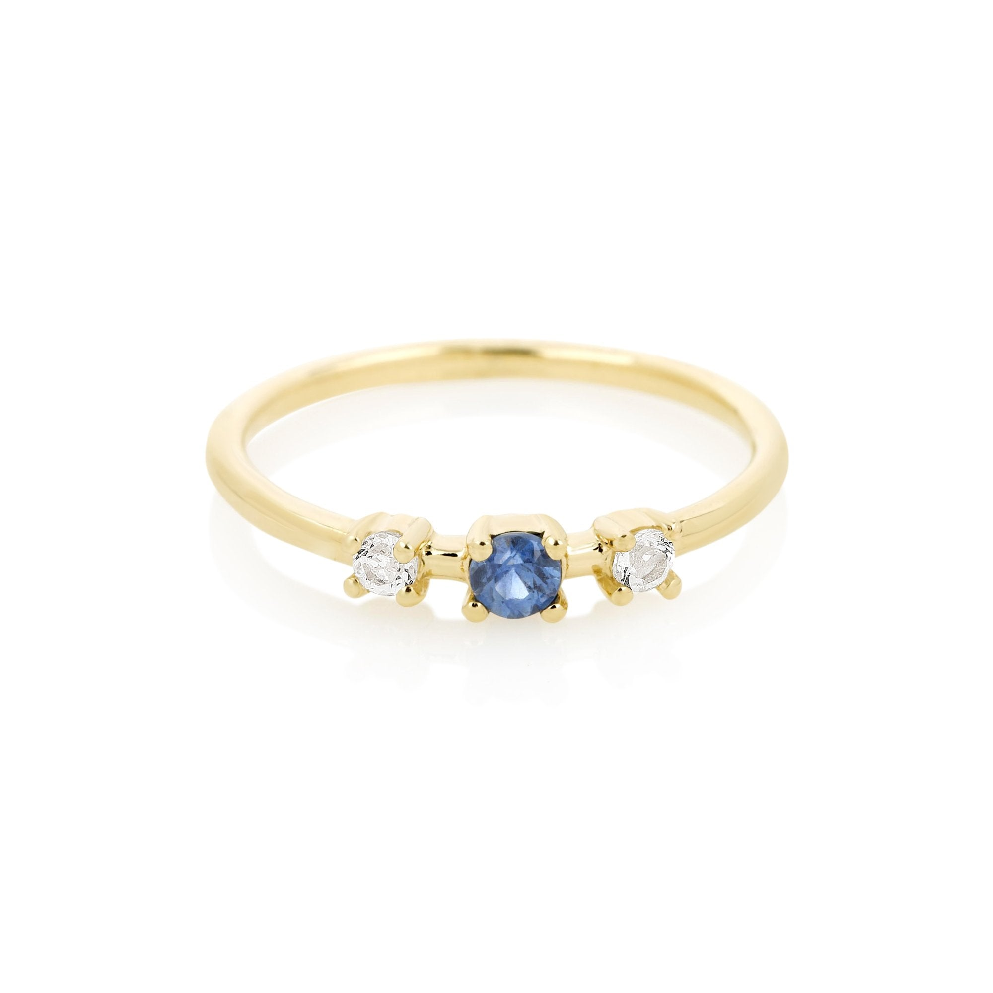 Tri Blue Sapphire and White Topaz Ring