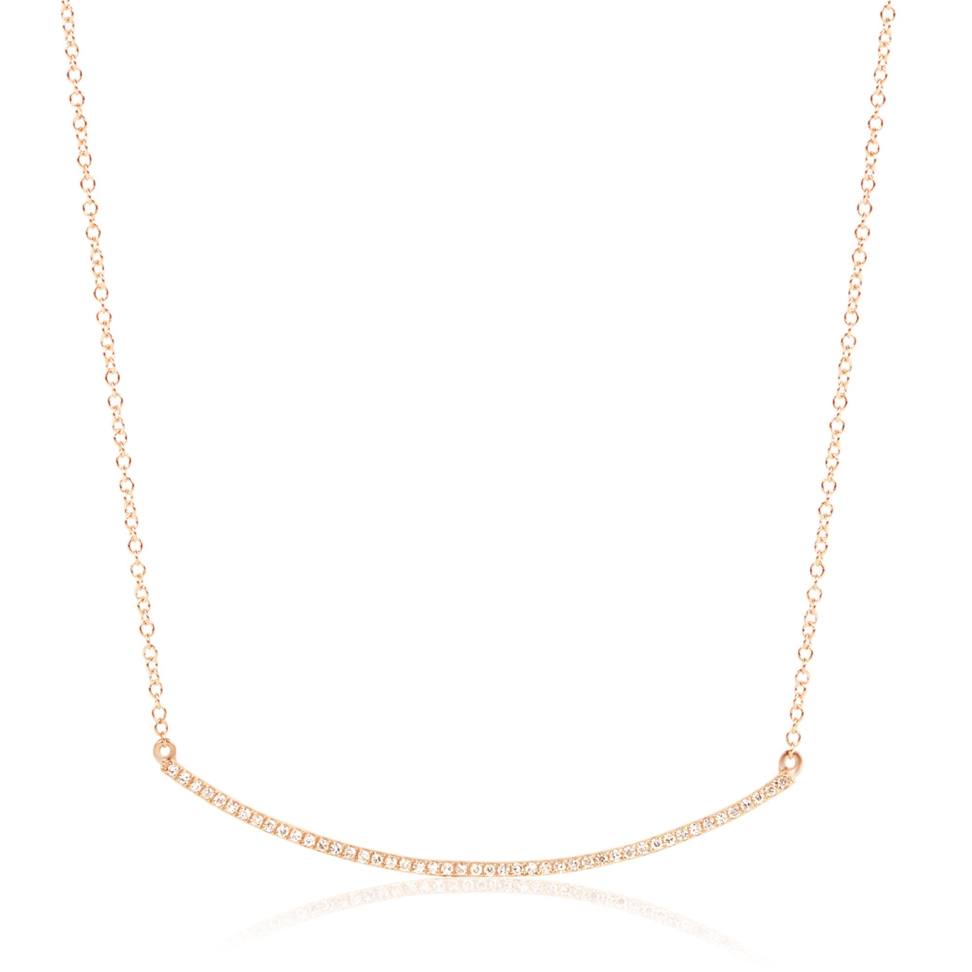 Diamond Pave Curve Bar Necklace
