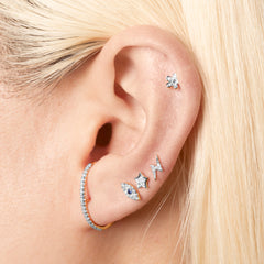 Pave Diamond Flower Stud