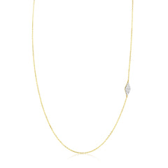 Pave Diamond Shape Asymmetric Necklace