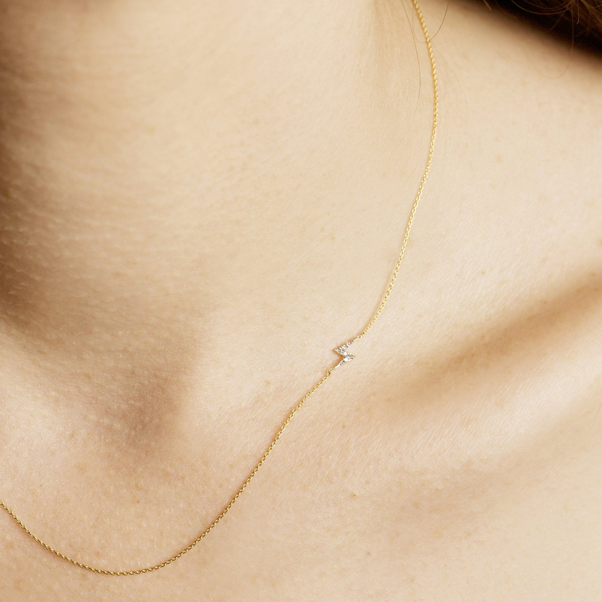Asymmetric Pave Diamond Lightning Bolt Necklace