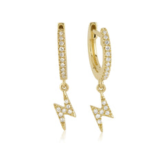 White Diamond Pave Huggie Earring with Lightning Bolt Charm