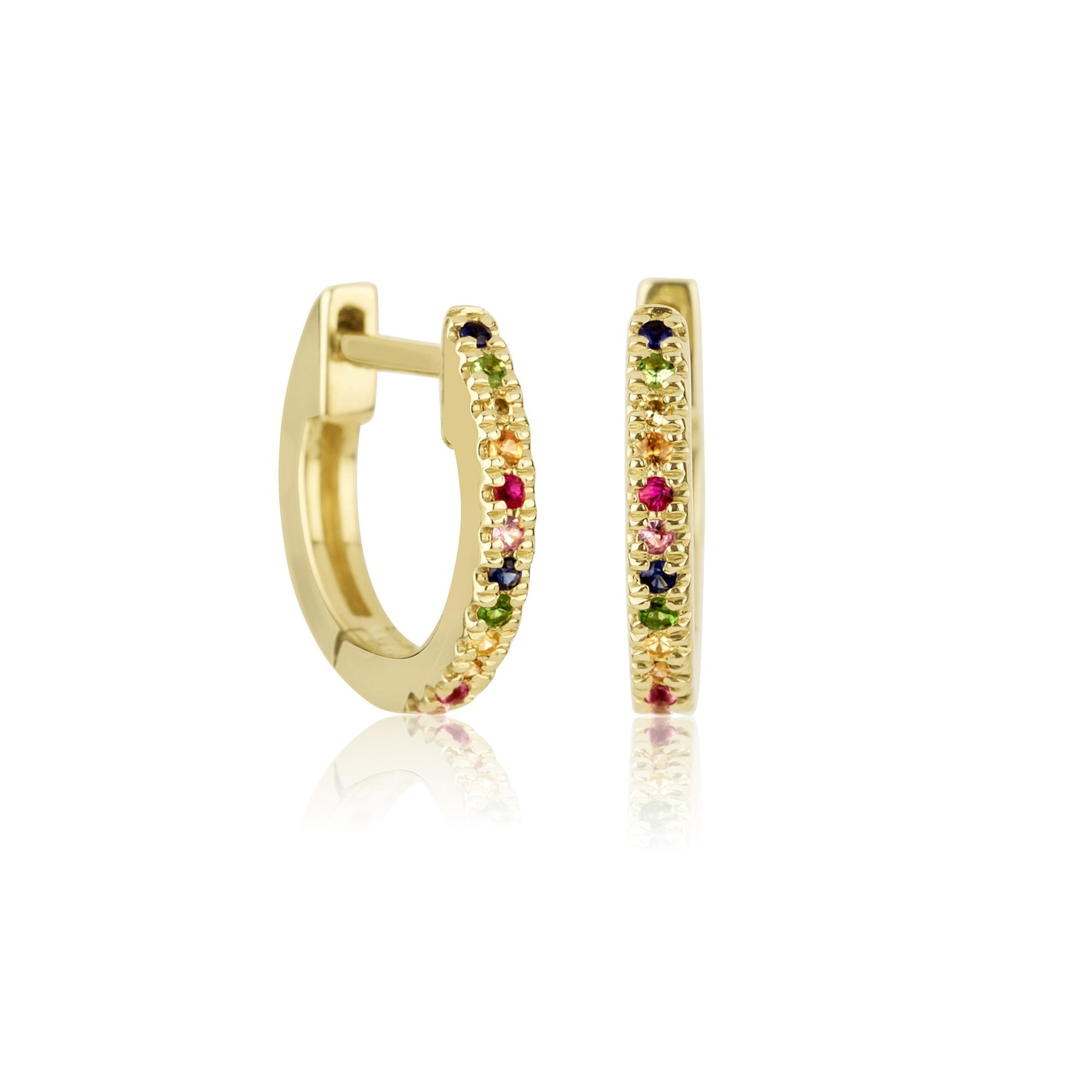 Rainbow Sapphire Pave Huggie Earrings