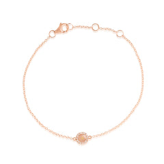 Rose Gold Pave Diamond Disc Bracelet