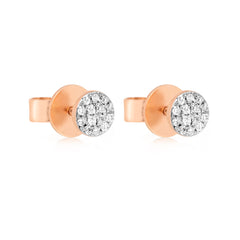 Rose Gold Pave Diamond Disc Earrings