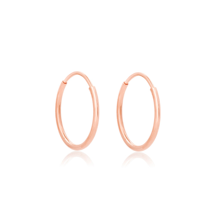 Rose Gold Tiny Round Endless Hoop Earrings