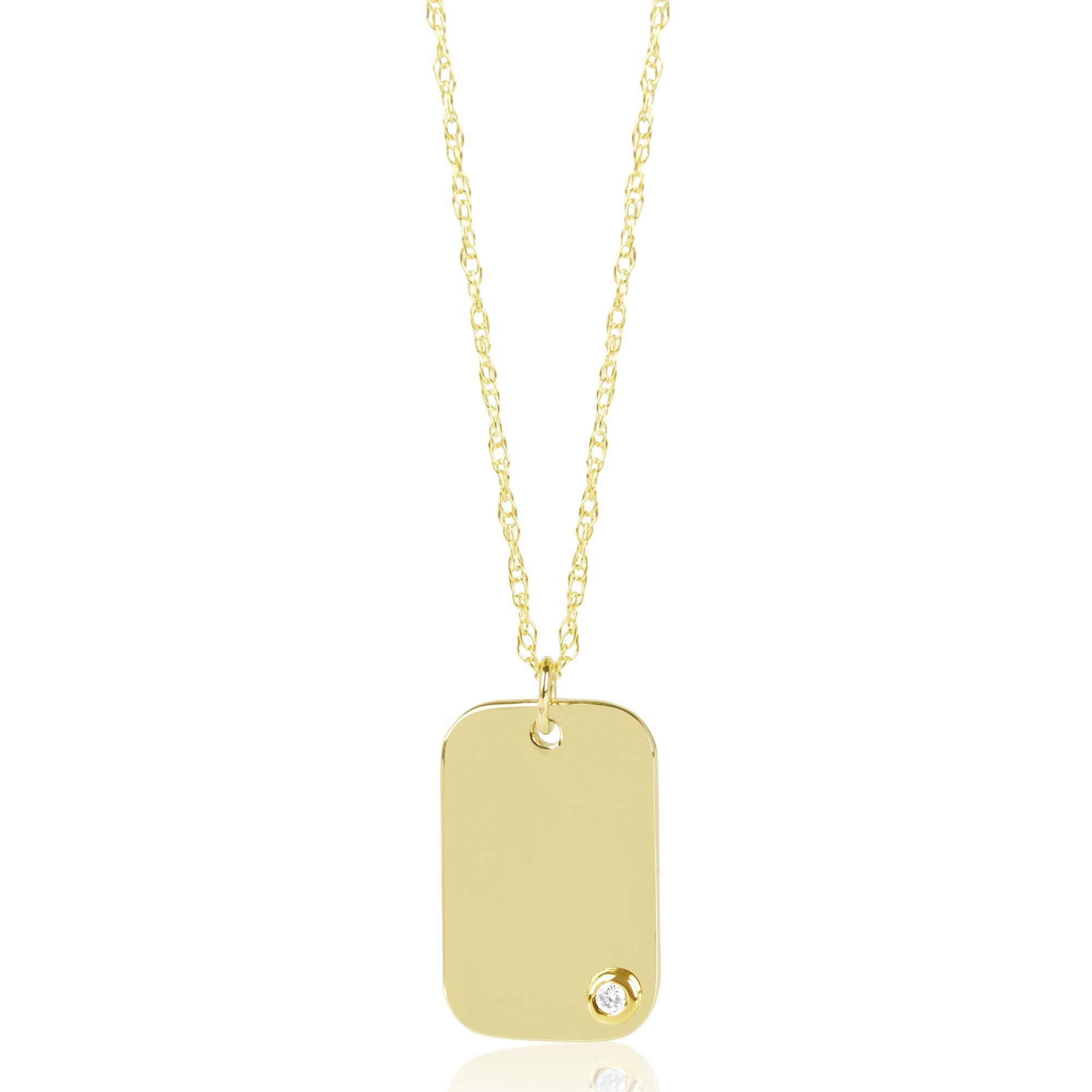 engraved tag gold pendant