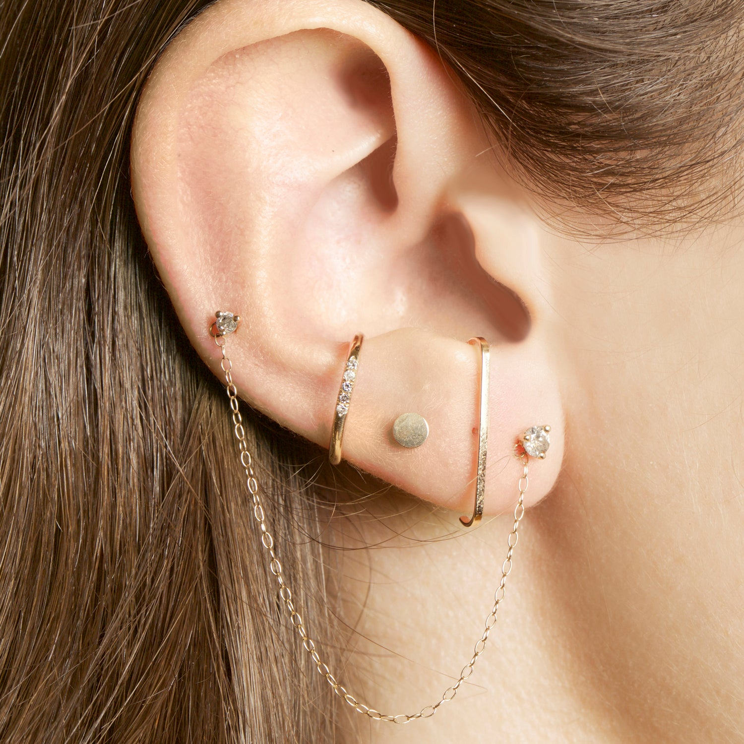 Double Diamond Chain Earring