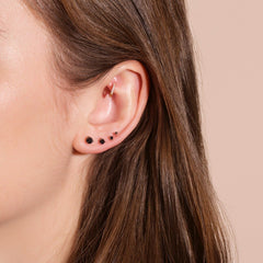 Medium Round Black Diamond Stud - STONE AND STRAND