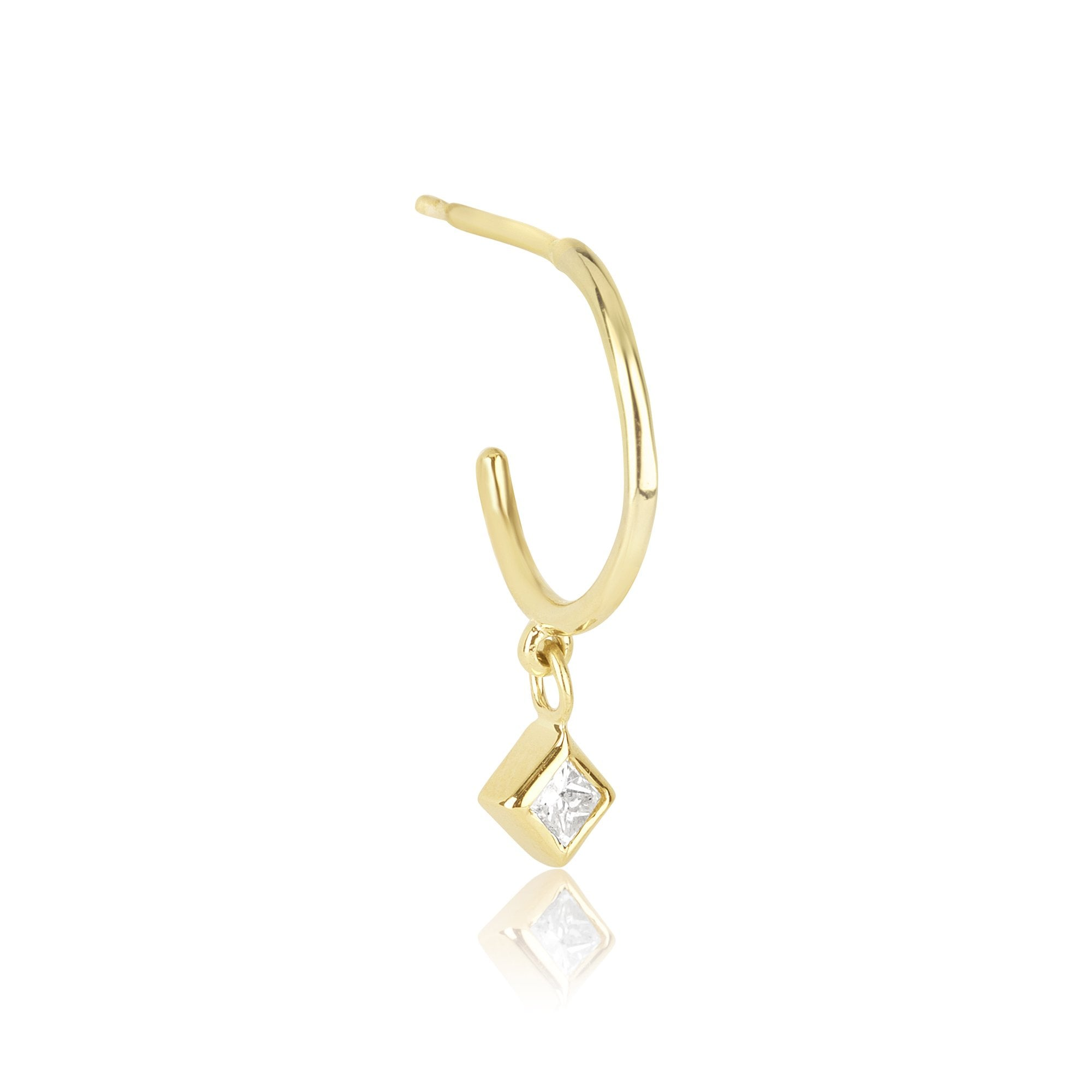 solid gold diamond huggie earring