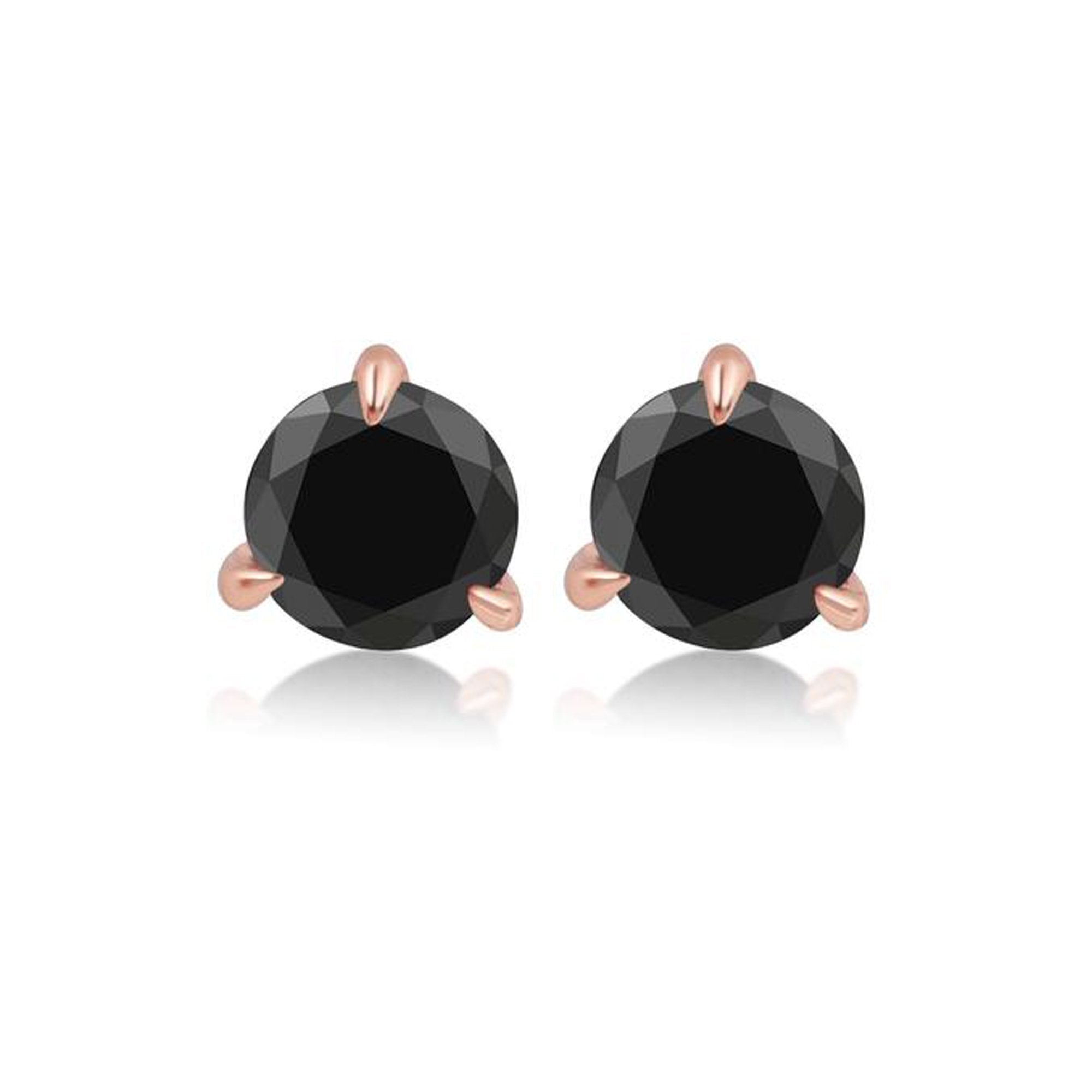 Small Round Black Diamond Prong Stud