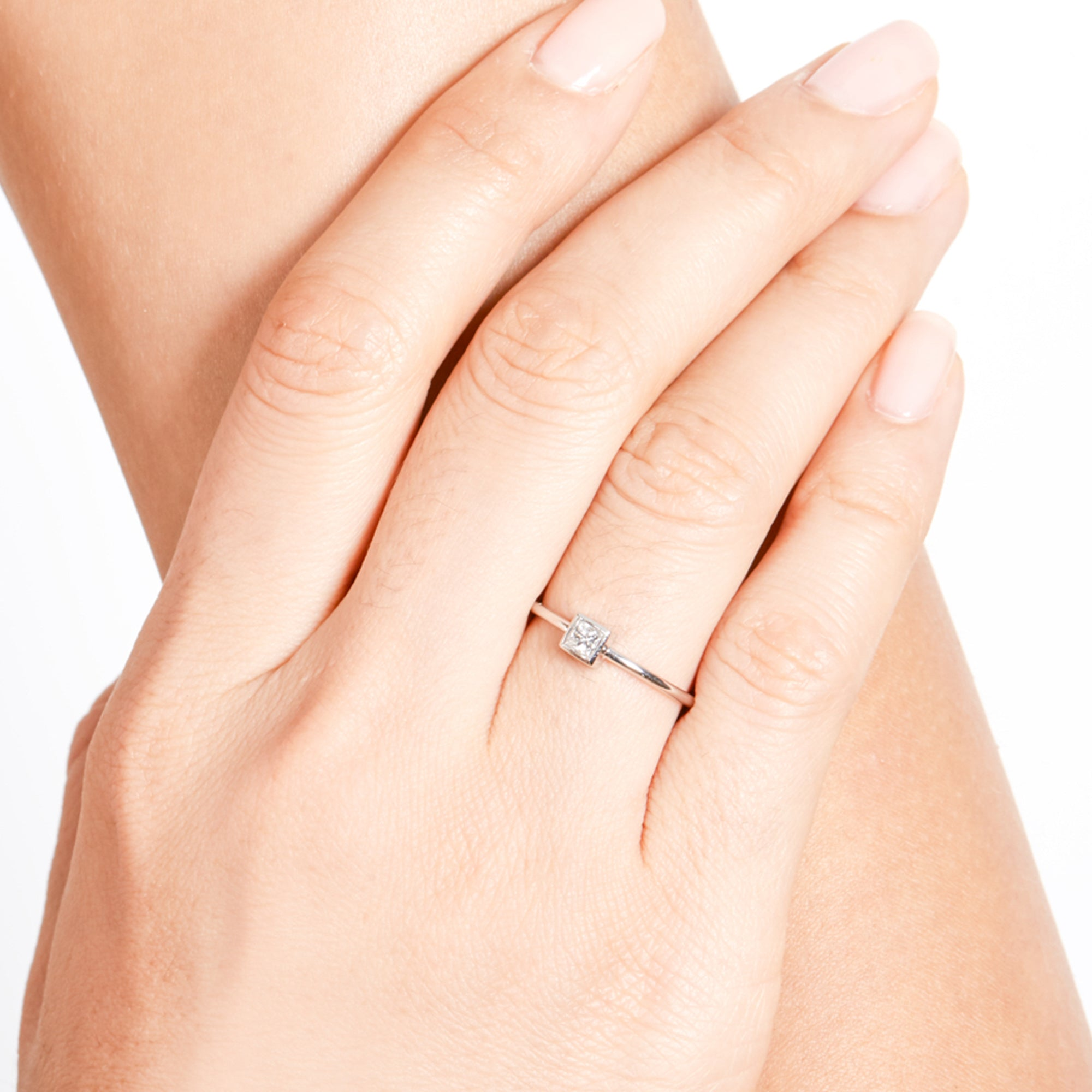 Medium Princess Diamond Ring