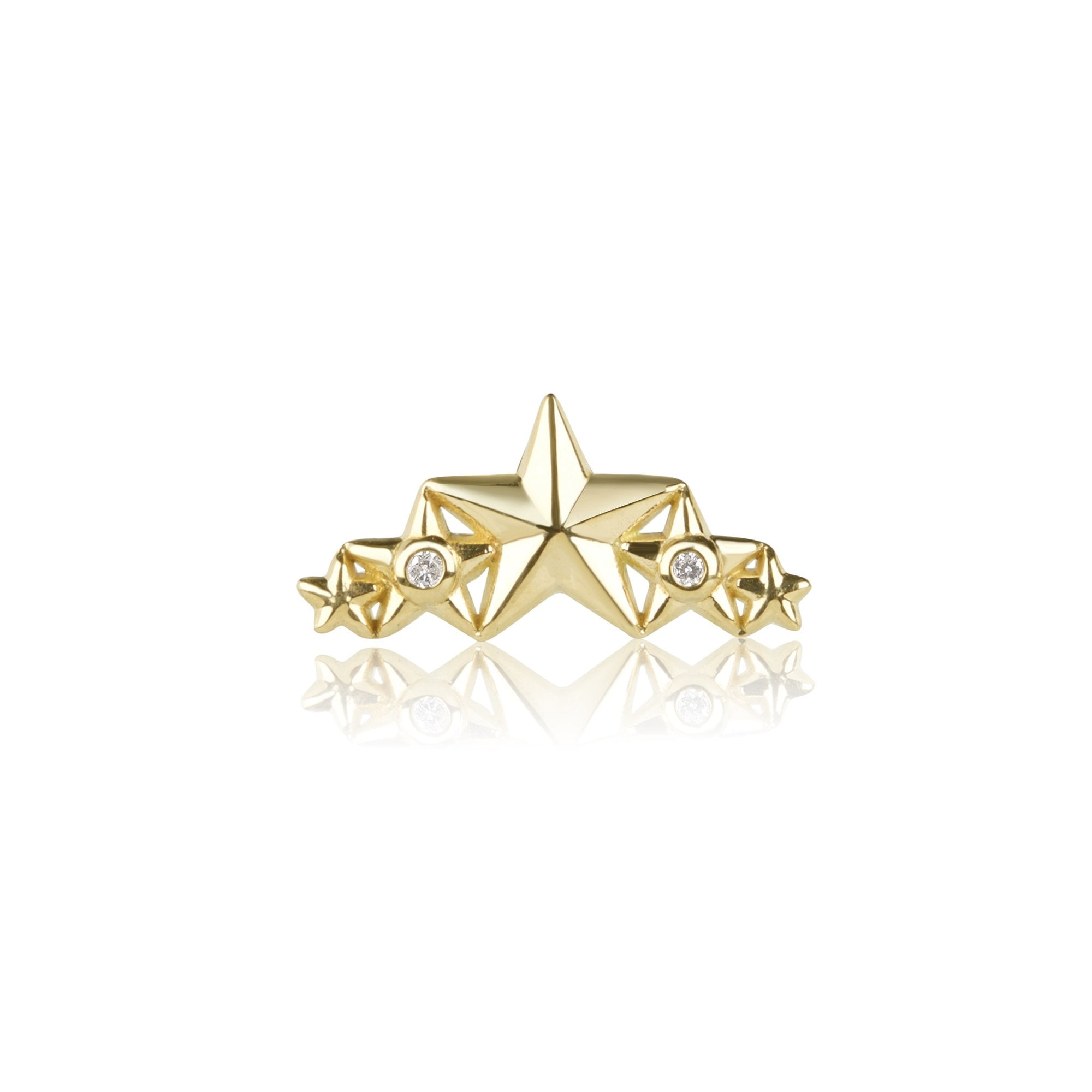 16 Gauge Gold Star and Diamond Cluster Threaded Stud with Titanium Closure
