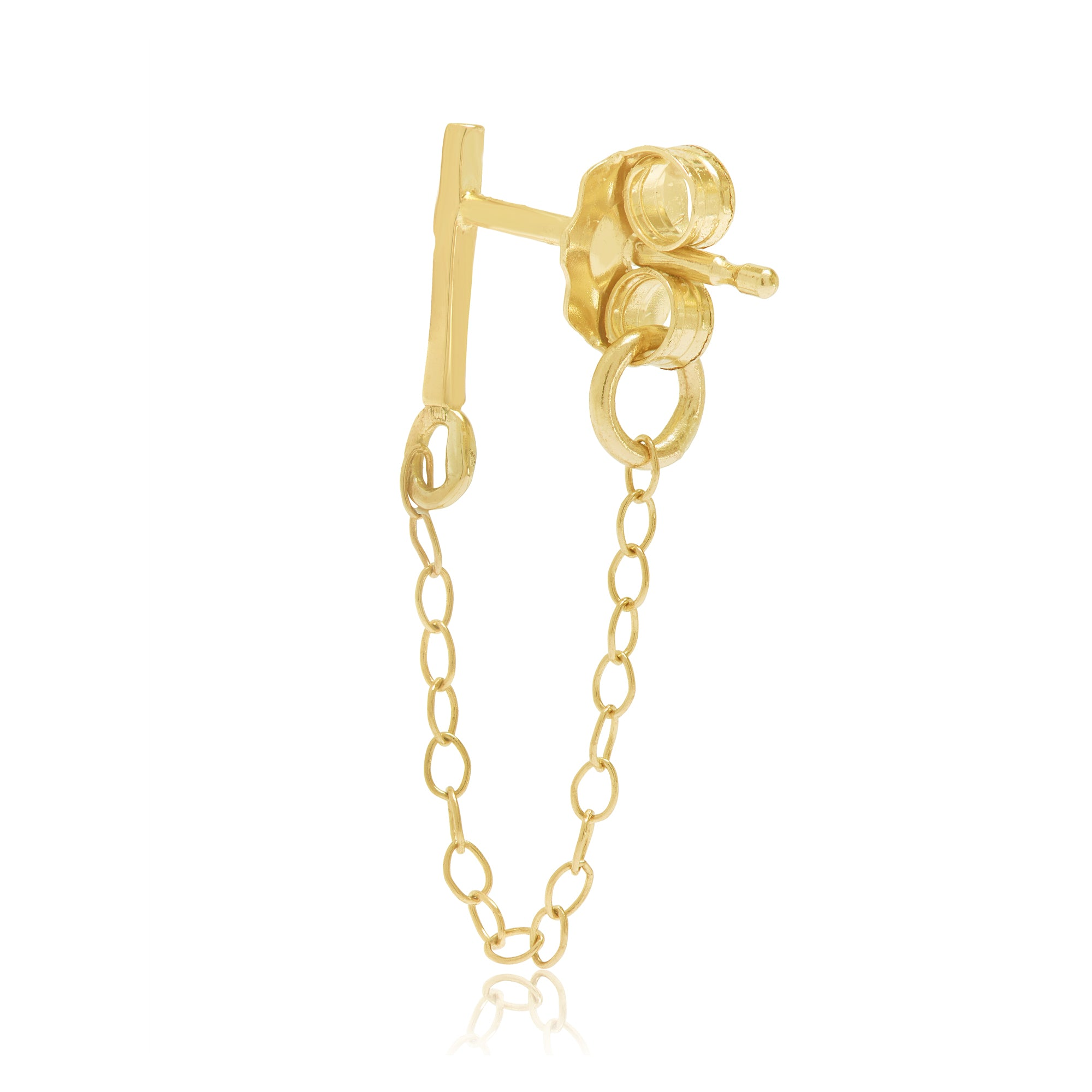 Gold Bar Front To Back Chain Earring