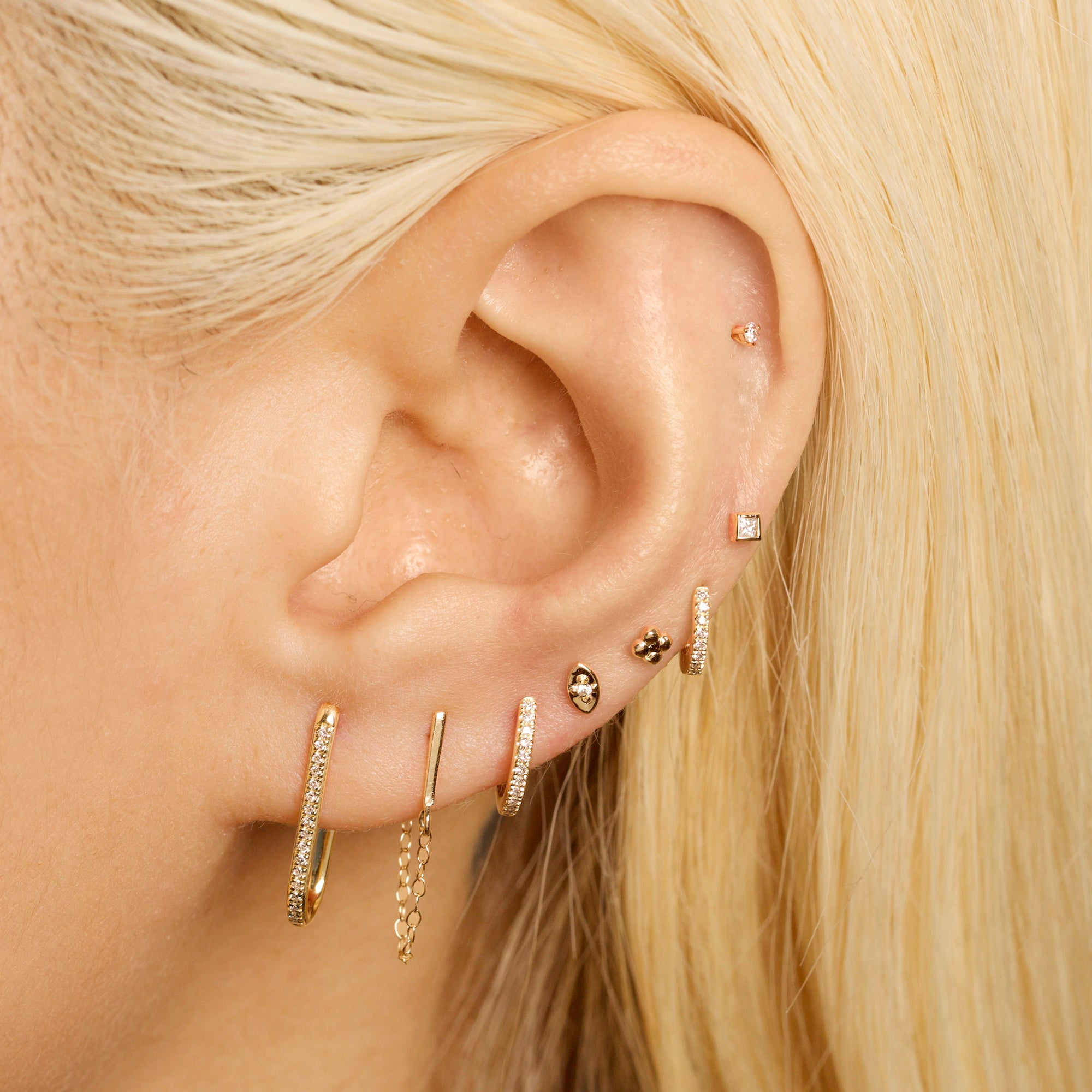 Gold Bar Front-To-Back Chain Earring