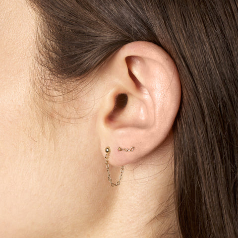 Tiny Bead Chain Earring