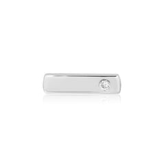 White Gold Medium Bar Stud Earring with Diamond