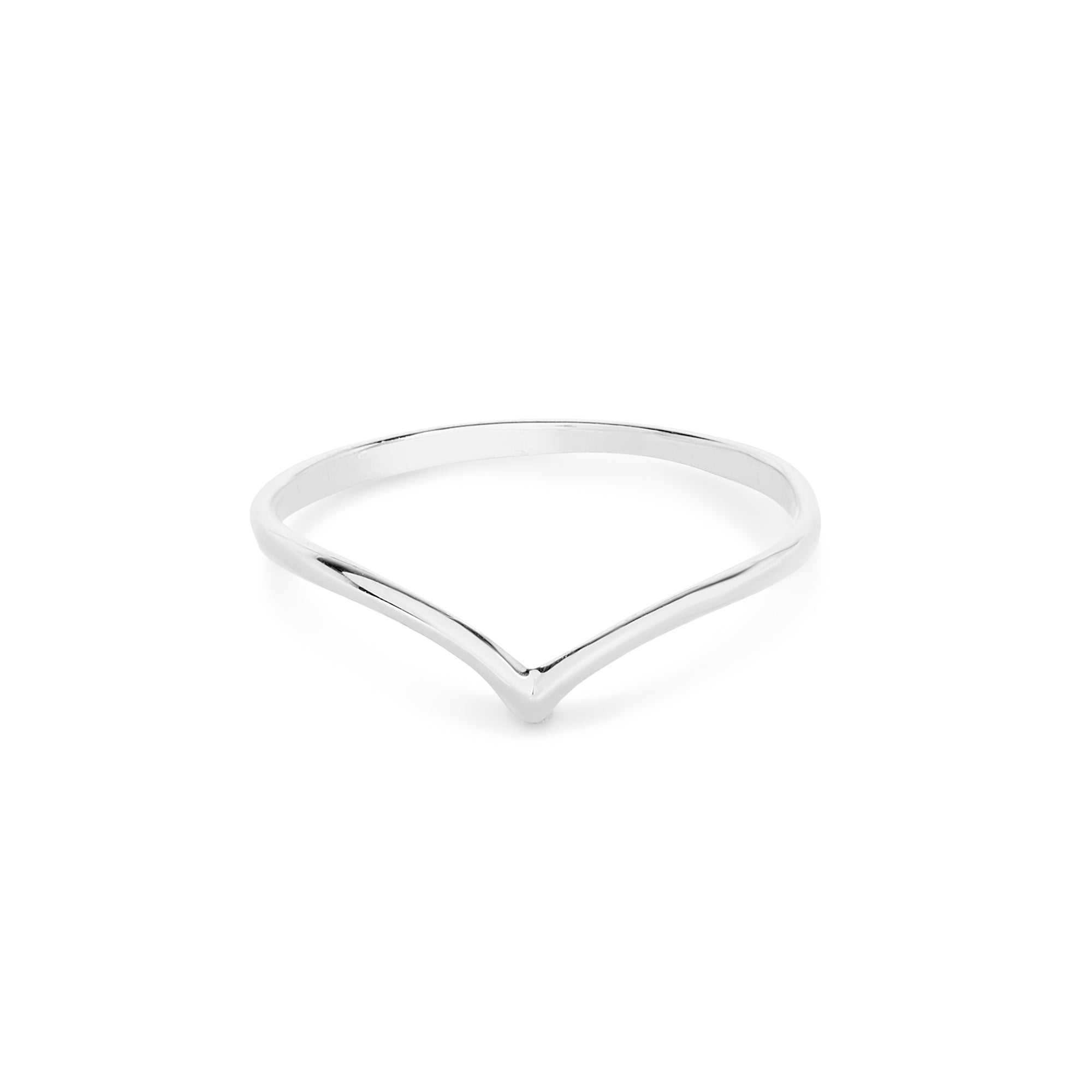 White Gold V Ring