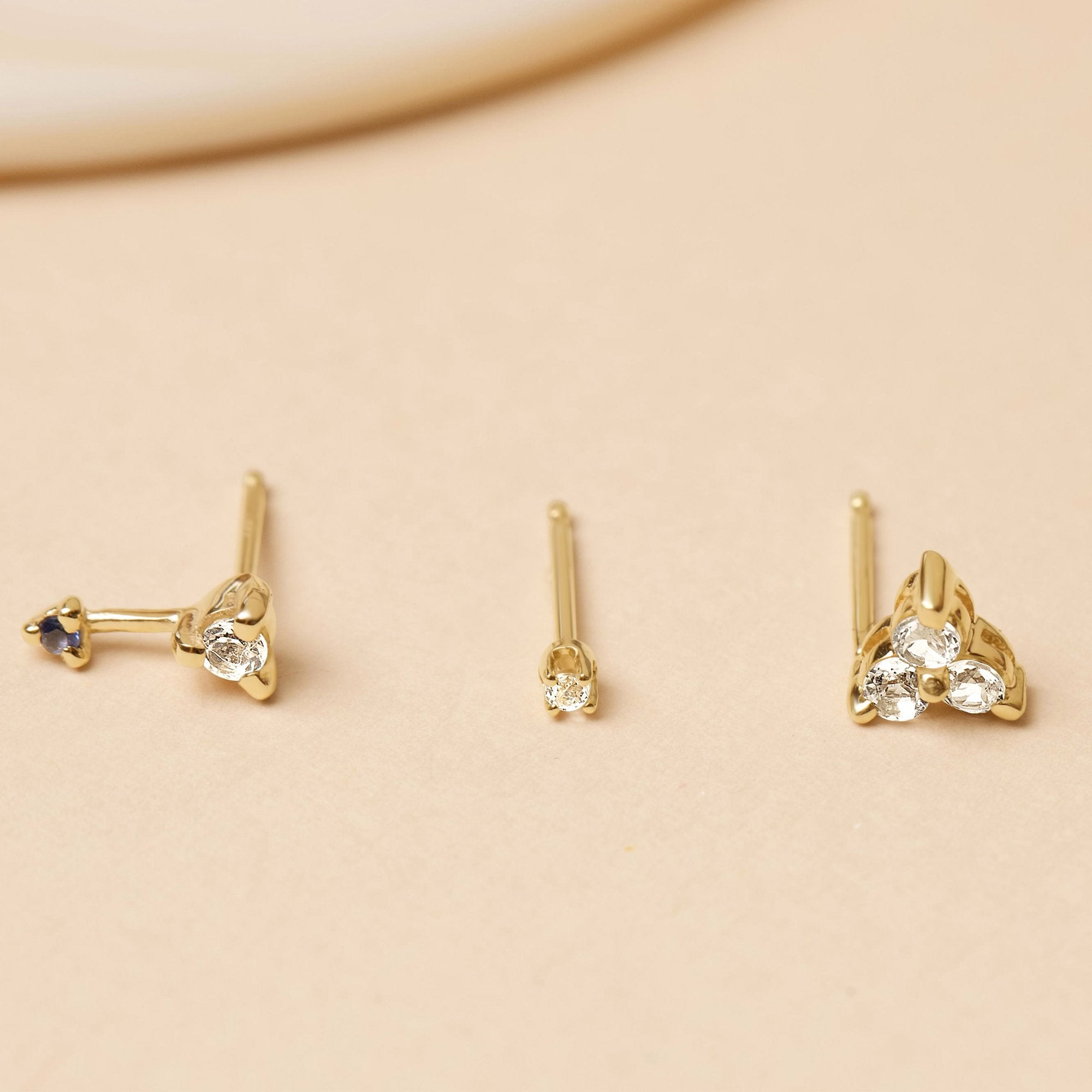 White Topaz Triad Piercing Earring