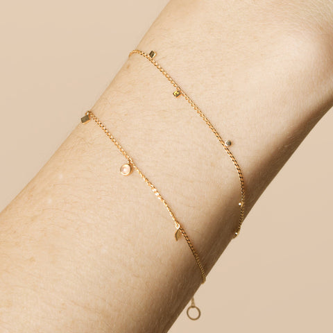 Gold Circle And Square Charm Bracelet