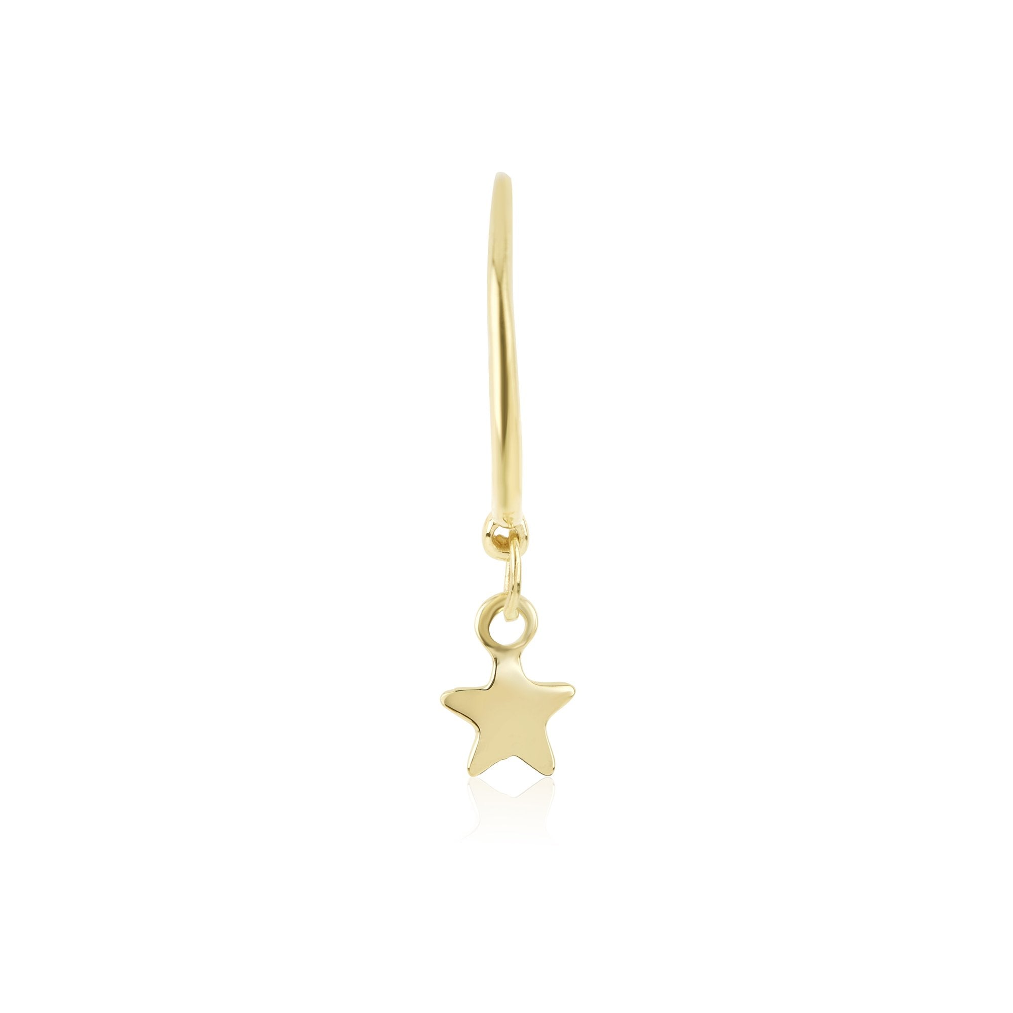 gold hoop earring with star charm